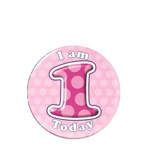 Badge 15cm Happy Birthday Age 1 Girl
